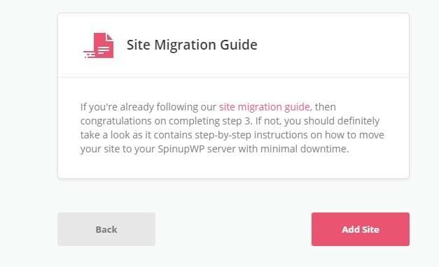 SpinupWP Add Site Wizard Bottom of Confirmation Screenshot