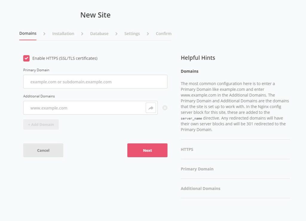 Screenshot of SpinupWP Add Site Domain Wizard