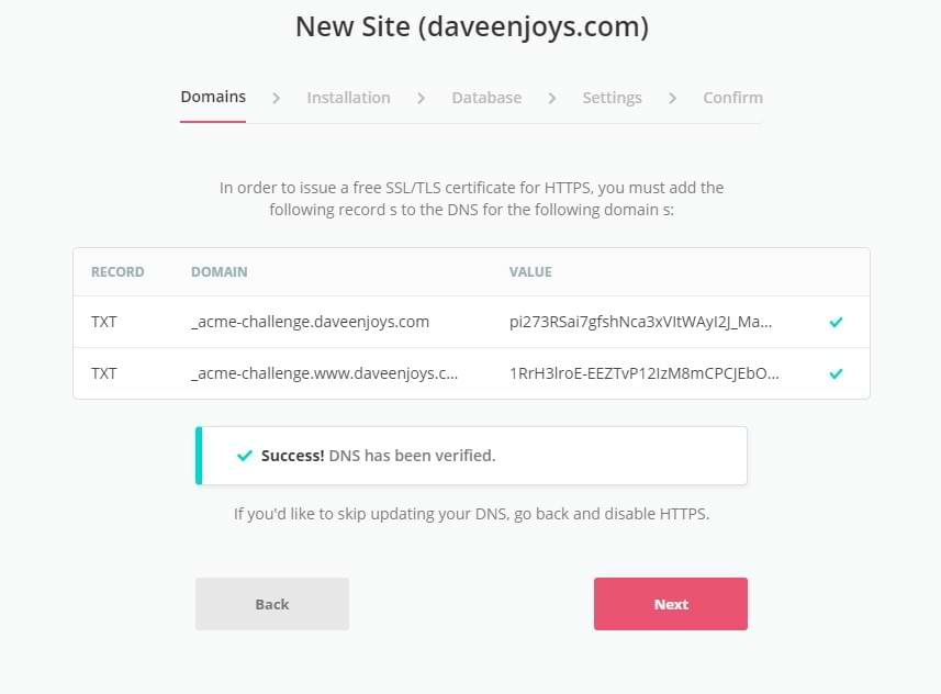 SpinupWP Add Site Wizard DNS TXT Records Confirmed Screenshot