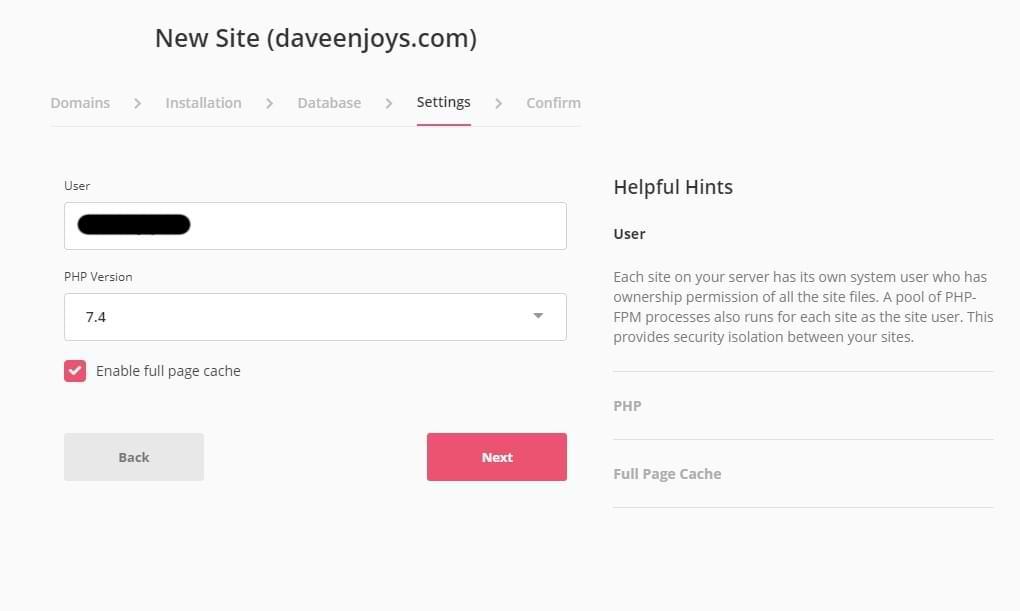 SpinupWP Add Site Wizard Settings Screenshot