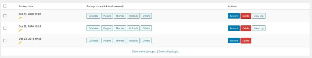 UpdraftPlus Existing Backups Screenshot