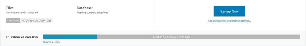 UpdraftPlus Backing Up Screenshot