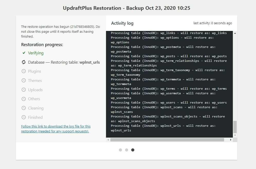 UpdraftPlus Performing Restore Activity Log Screenshot
