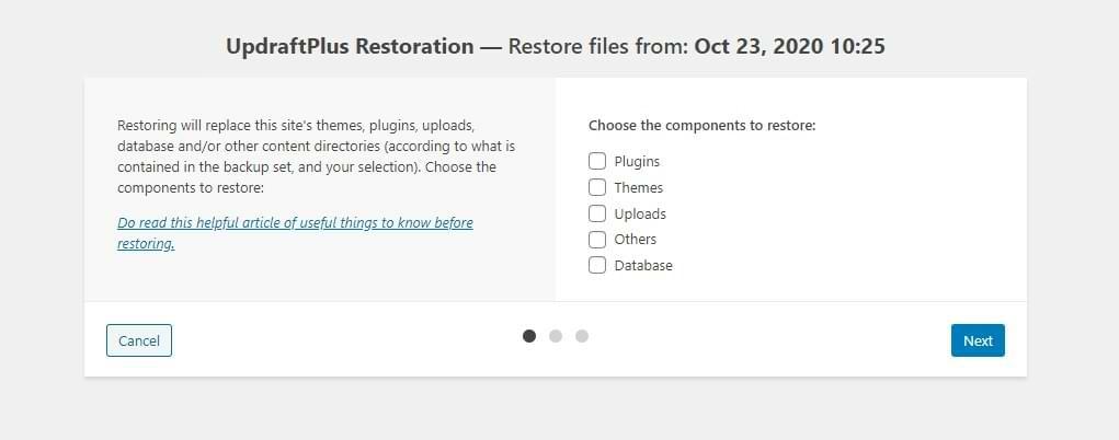 UpdraftPlus Restore Wizard Screenshot